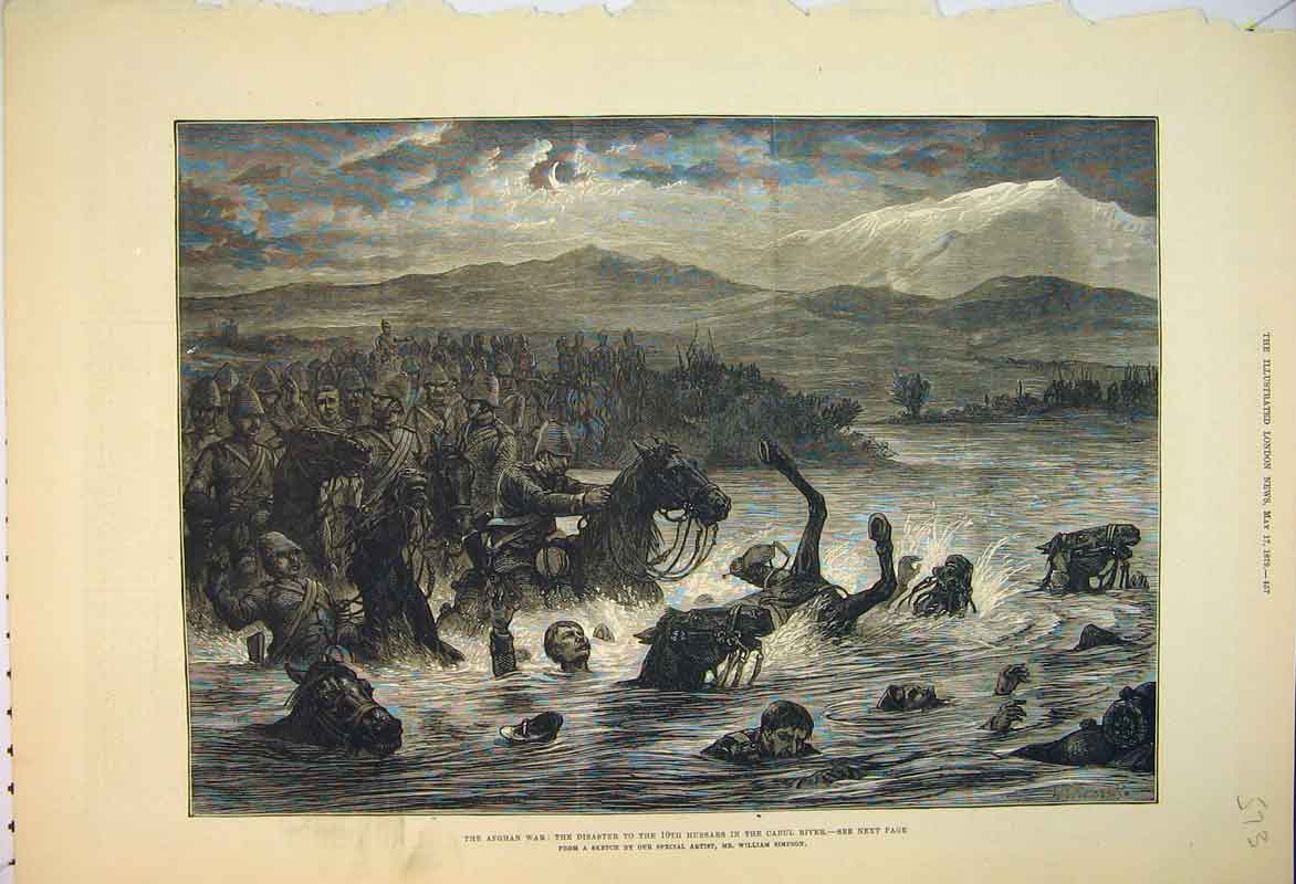 Print 1879 Afghan War Disaster Hussars Cabul River Horses 573B353 Old Original