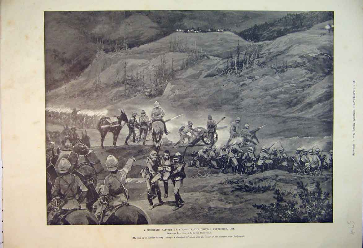 Print Trenches War Sebastopol 1855 Soldiers Cannon Rifles 574B353 Old Original