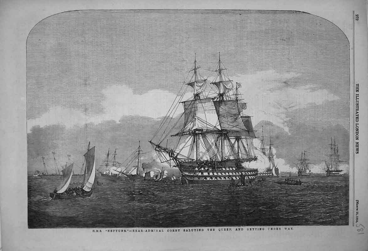Print 1854 Ship Neptune Rear Admiral Corry Saluting Queen 581B353 Old Original