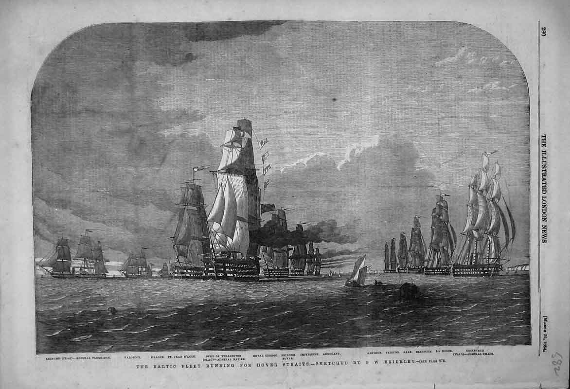 Print 1854 Baltic Fleet Dover Straits Plumridge Royal George 582B353 Old Original