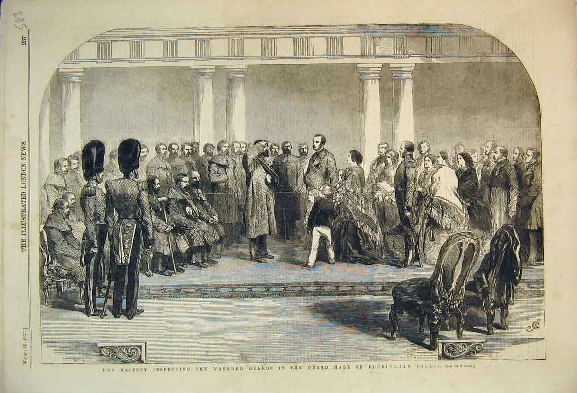 Print 1855 Queen Inspecting Wounded Guards Buckingham Palace 583B353 Old Original