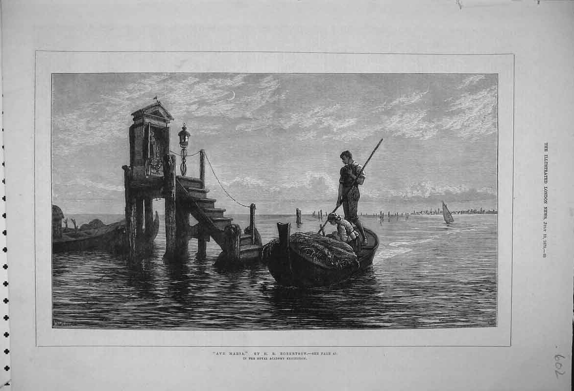 Print Ave Maria Robertson 1879 Romance Boat Steps Monument 602B353 Old Original