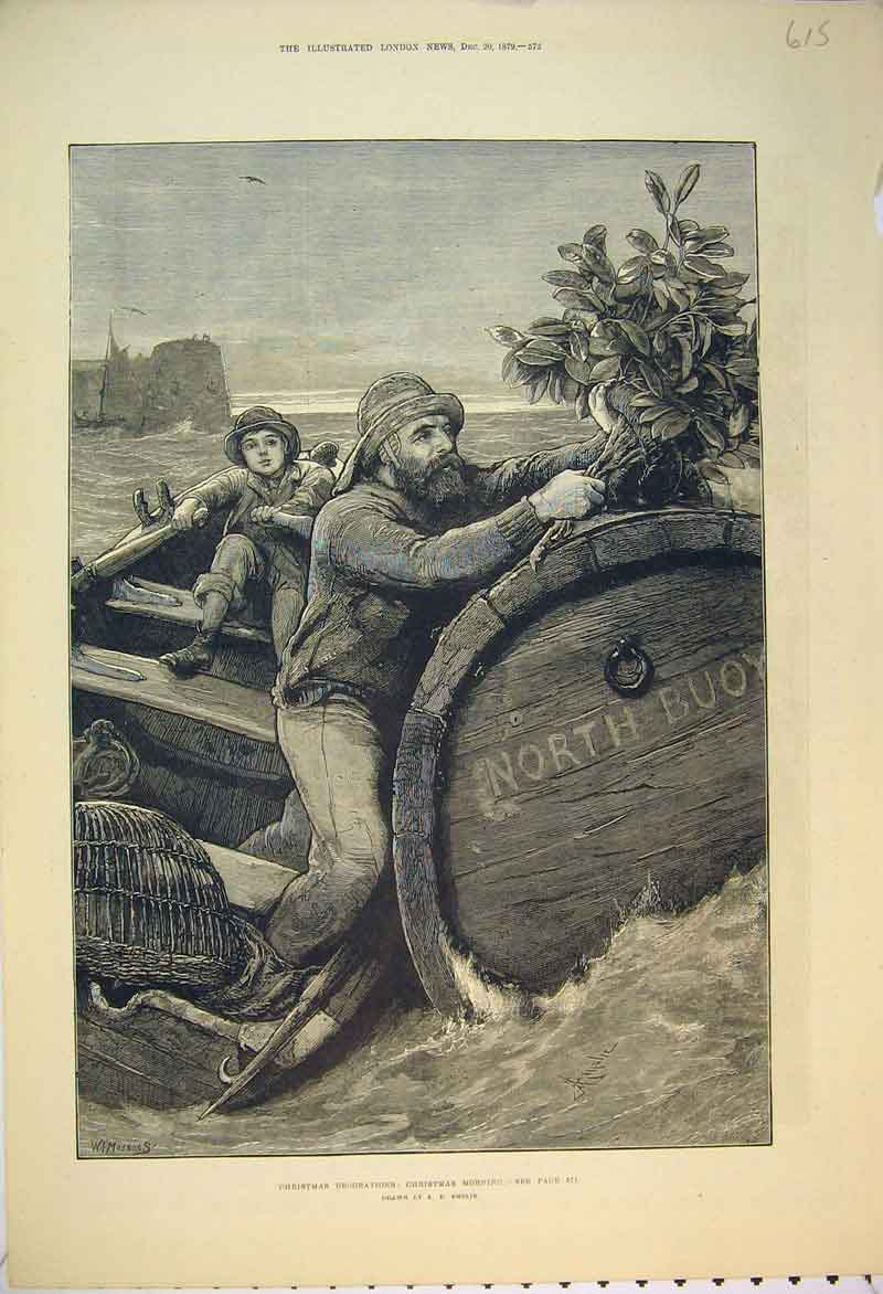 Print 1879 Christmas Holly Man Boy Barrel Boat Sea Emslir 615B353 Old Original