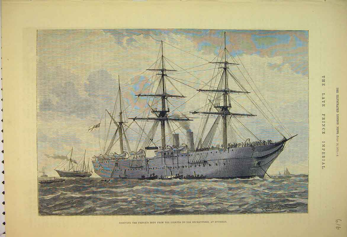 Print Prince Imperial 1879 Orontes Enchantress Spithead Ship 616B353 Old Original