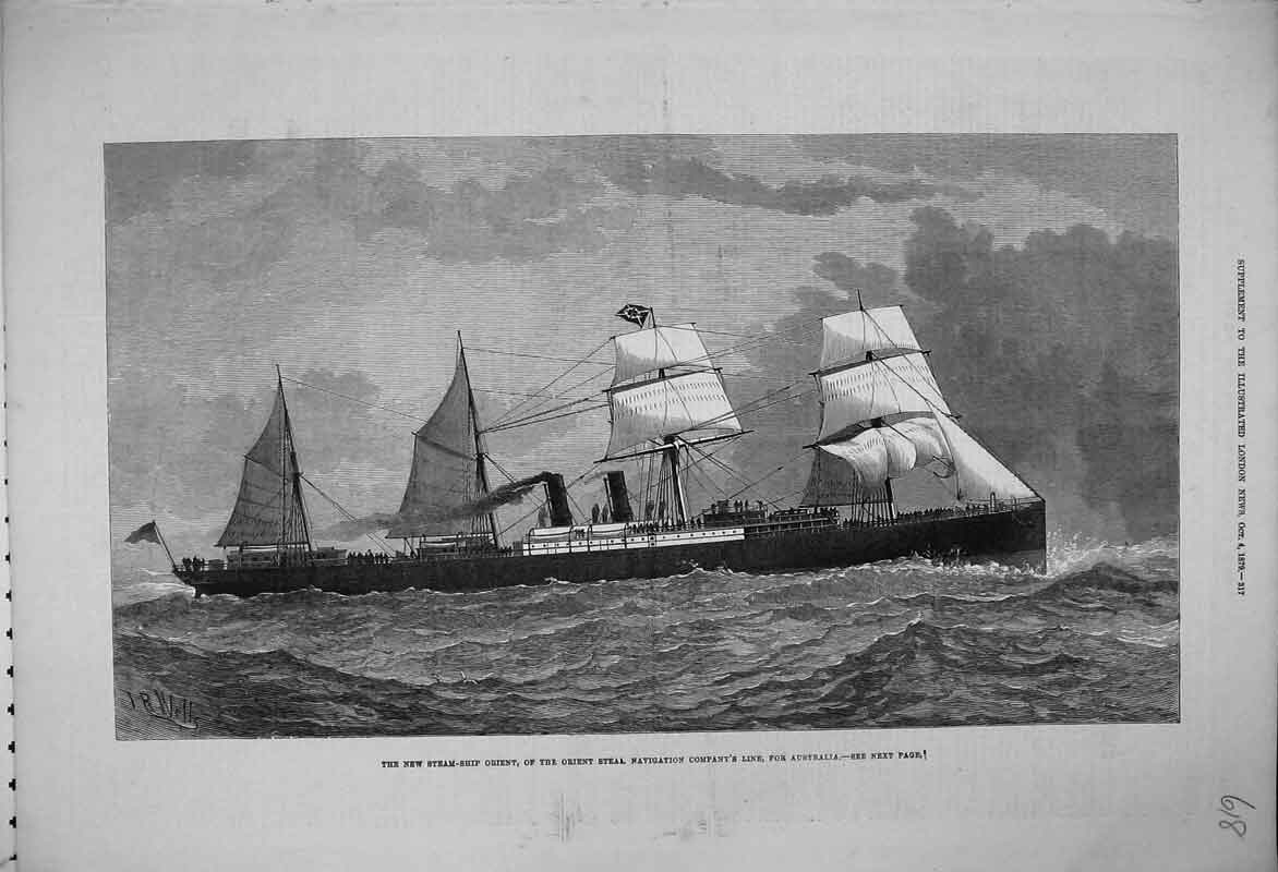 Print 1879 Steam Ship Orient Steal Navigation Australia Sea 618B353 Old Original
