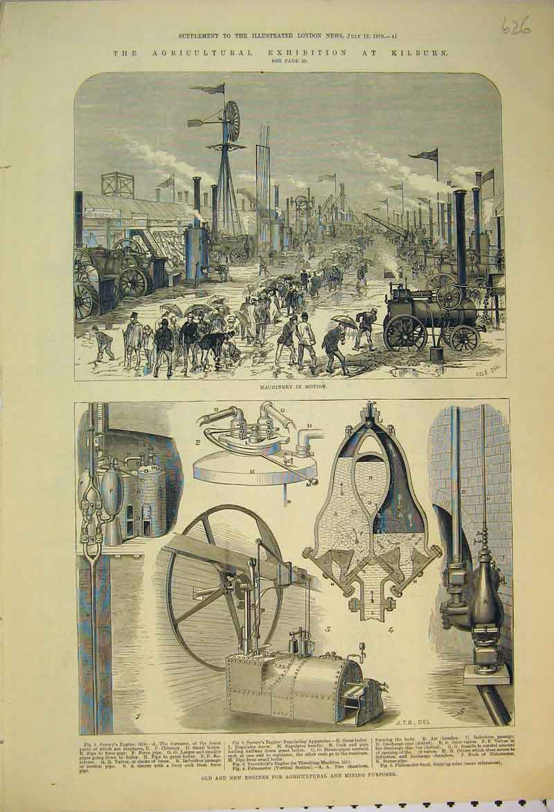 Print 1879 Agricultural Exhibition Kilburn Engines Machinery 626B353 Old Original