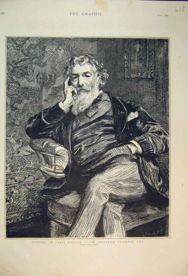 Print 1888 Portrait Sir Frederick Leighton Painter 628B353 Old Original