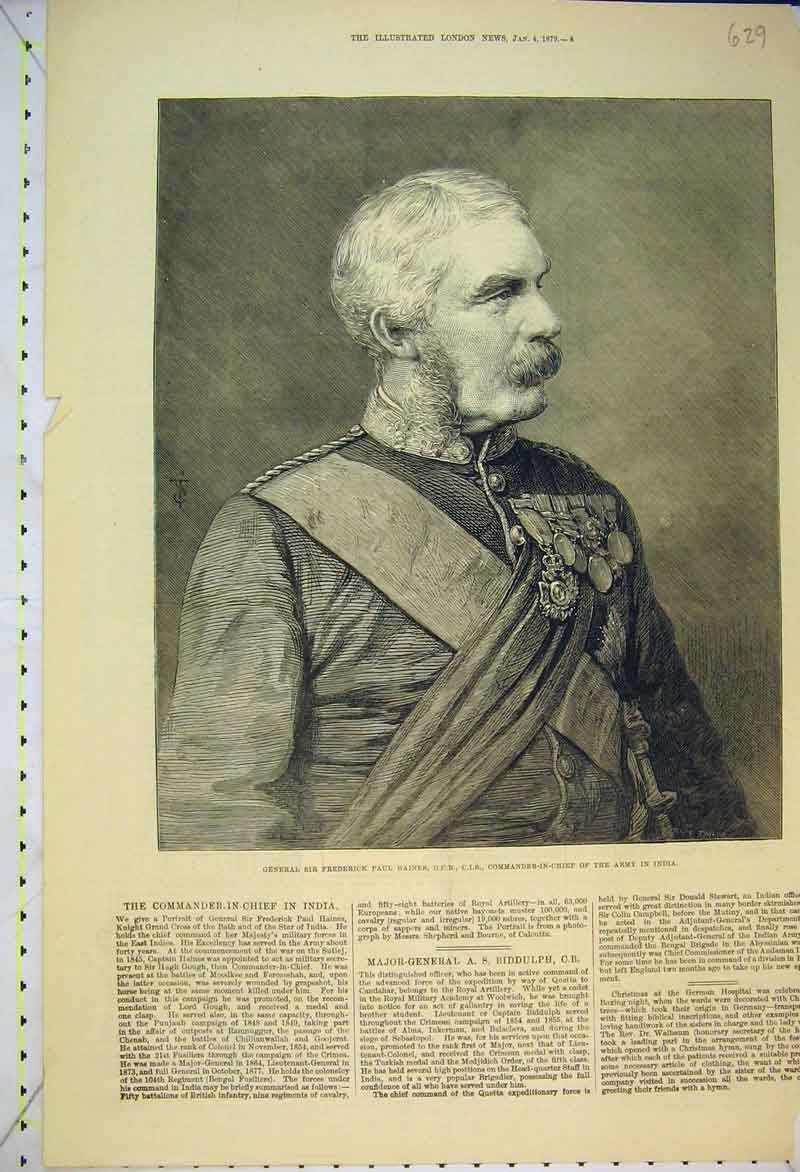 Print 1879 General Frederick Paul Haines Commander Army India 629B353 Old Original