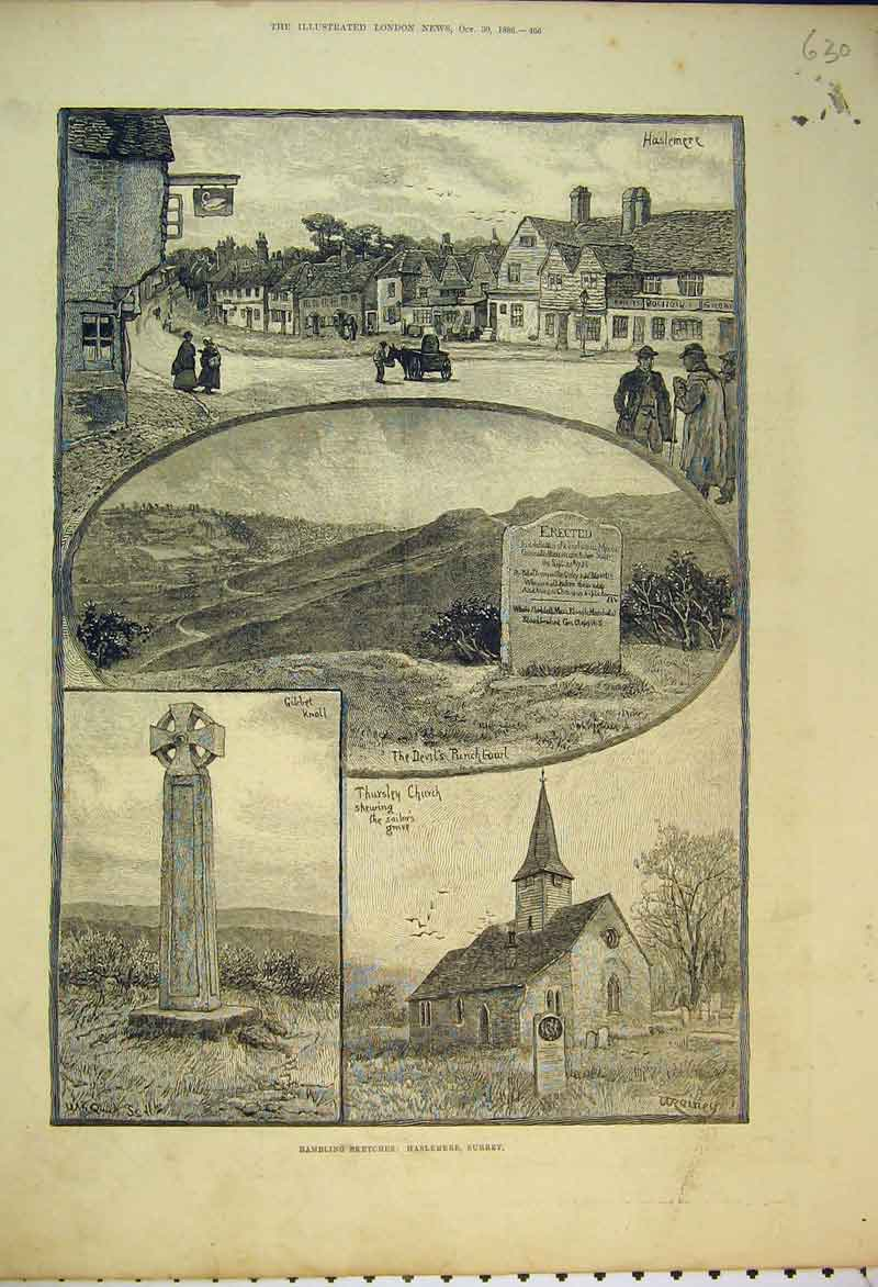 Print 1886 Rambling Sketches Haslemere Surrey Church Knoll 630B353 Old Original