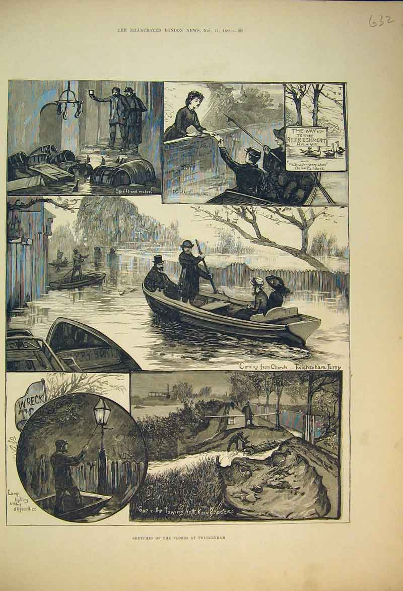 Print 1882 Sketches Floods Twickenham England Ferry River 632B353 Old Original