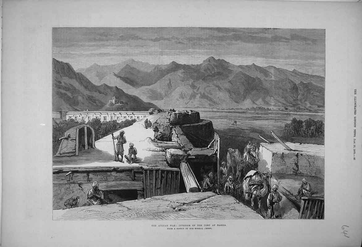 Print Afghan War 1879 Interior Fort Dakka Mountain Scene 641B353 Old Original