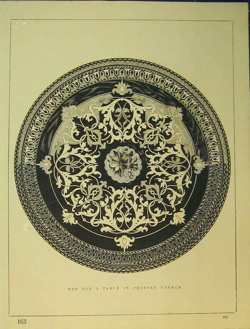 Print C1899 Ornamental Design Table Ed Veneer 701B354 Old Original