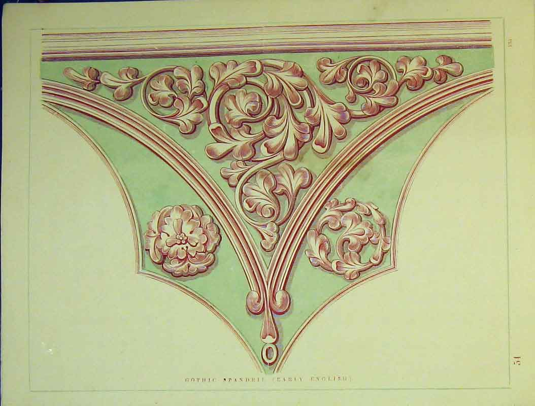 Print C1899 Architectural Early English Gothic Spandril 715B354 Old Original