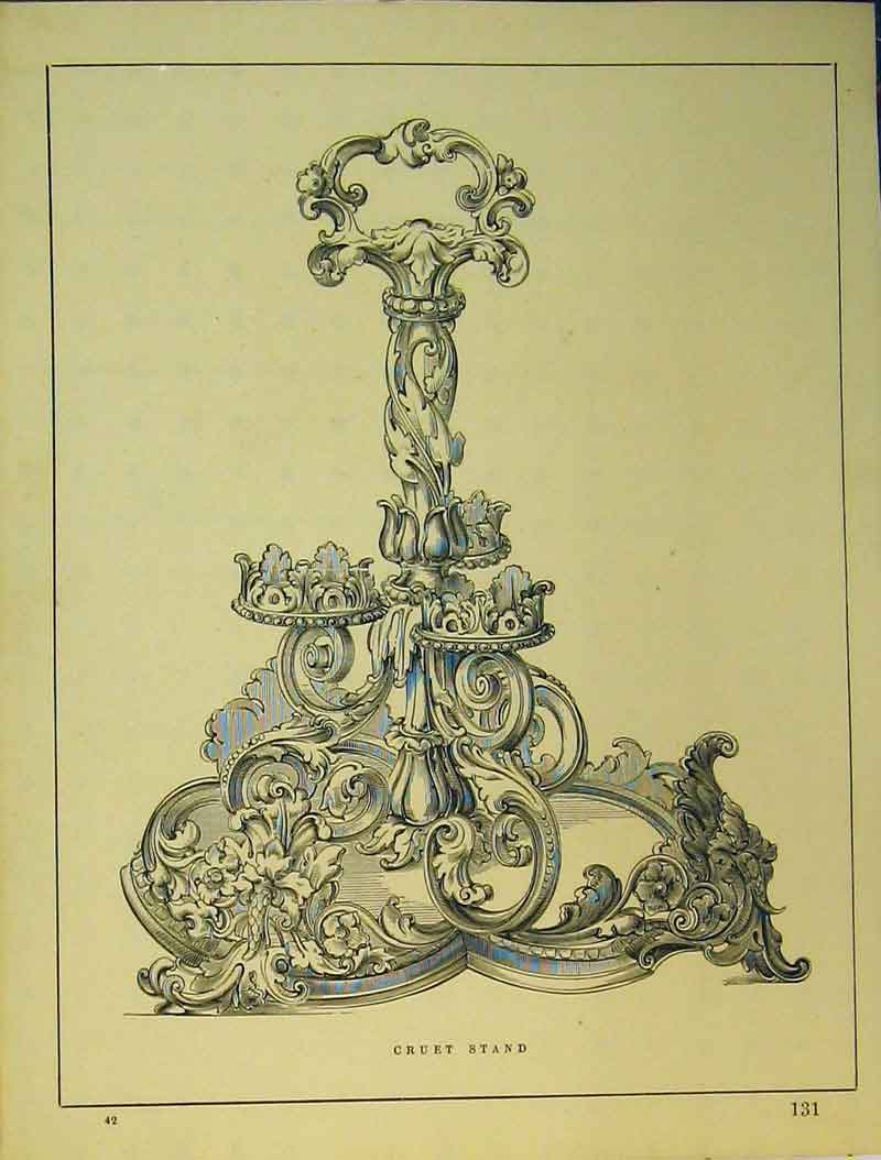 Print C1899 Ornamental Cruet Stand Architectural 717B354 Old Original