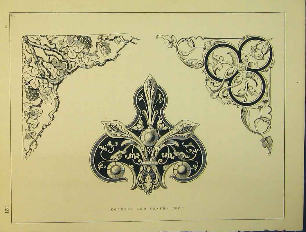 Print C1899 Ornamental Design Corners Centerpiece 720B354 Old Original