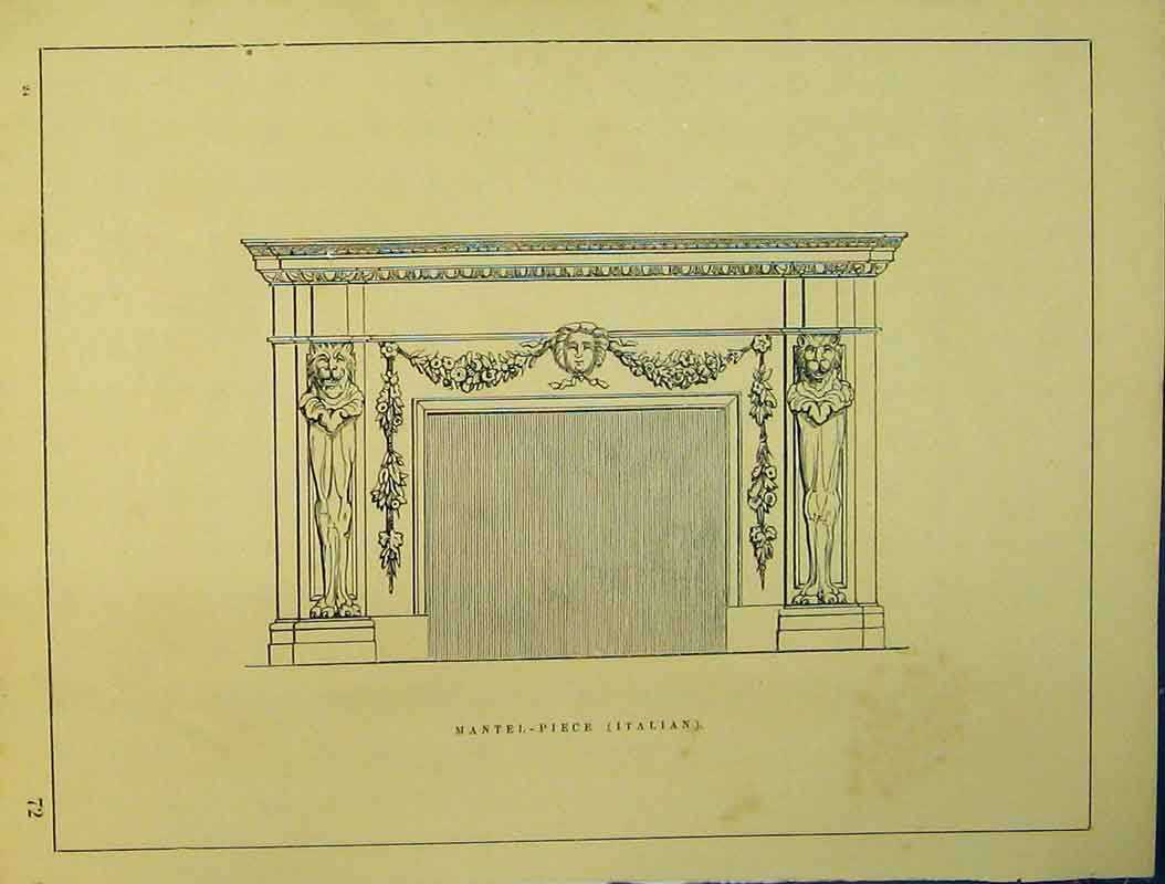 Print Architectural Design C1899 Italian Mantle-Piece 734B354 Old Original