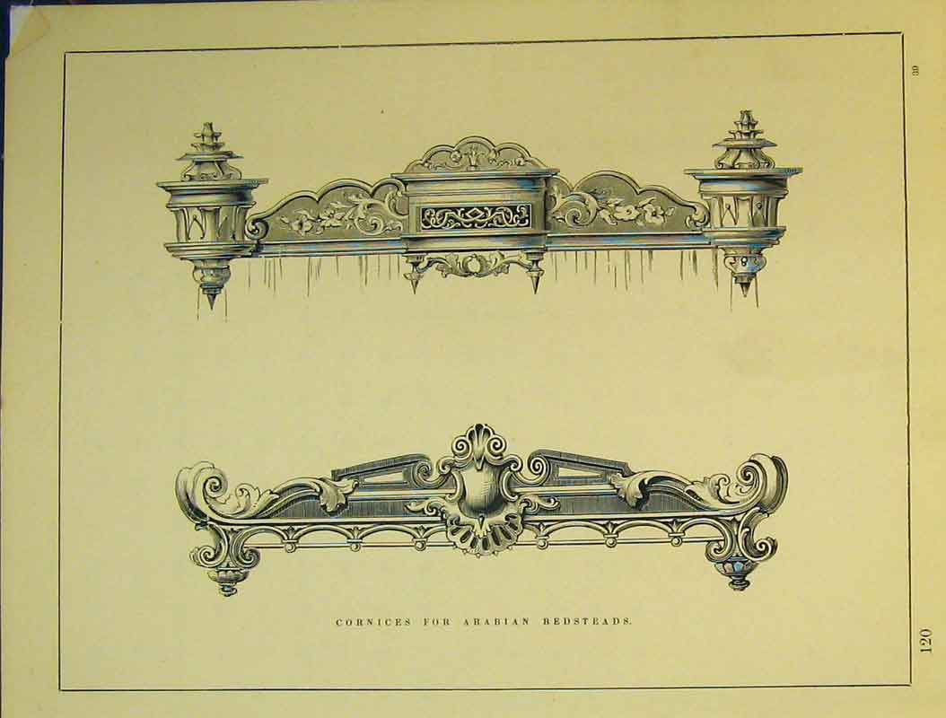 Print C1899 Architectural Design Cornices Arabian Bedsteads 739B354 Old Original