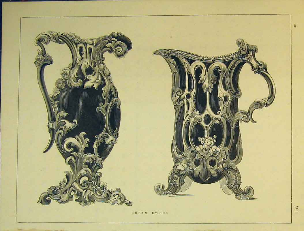 Print C1899 Ornamental Design Cream Ewers 755B354 Old Original
