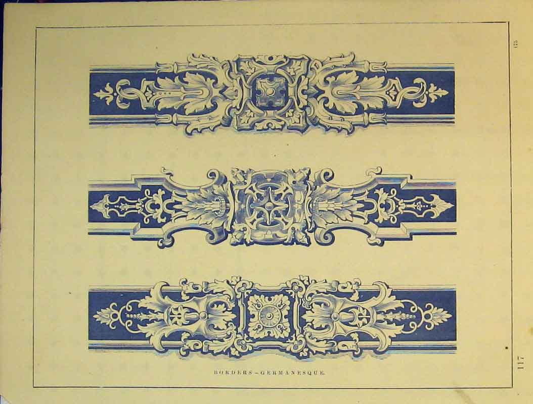 Print C1899 Architectural Germanesque Borders Ornamental 768B354 Old Original