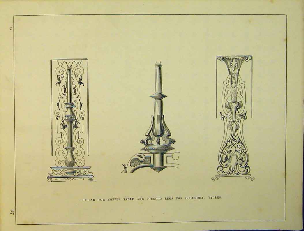 Print Pillar Coffee Table Pierced Legs Occasional C1899 779B354 Old Original