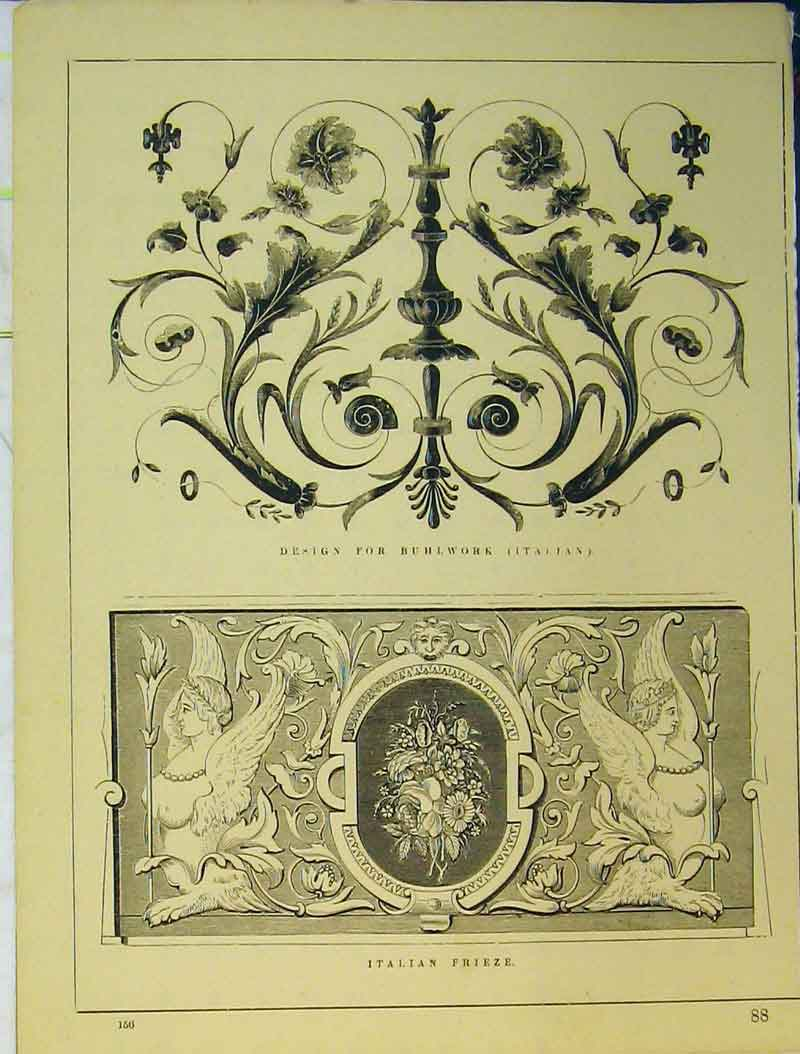 Print Architecture C1899 Italian Frieze Buhlwork Ornamental 782B354 Old Original