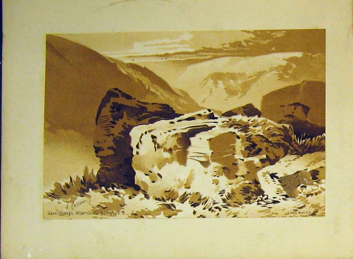 Print Water Colour Vere Foster C1890 Mountain Rocks Callou 603B355 Old Original