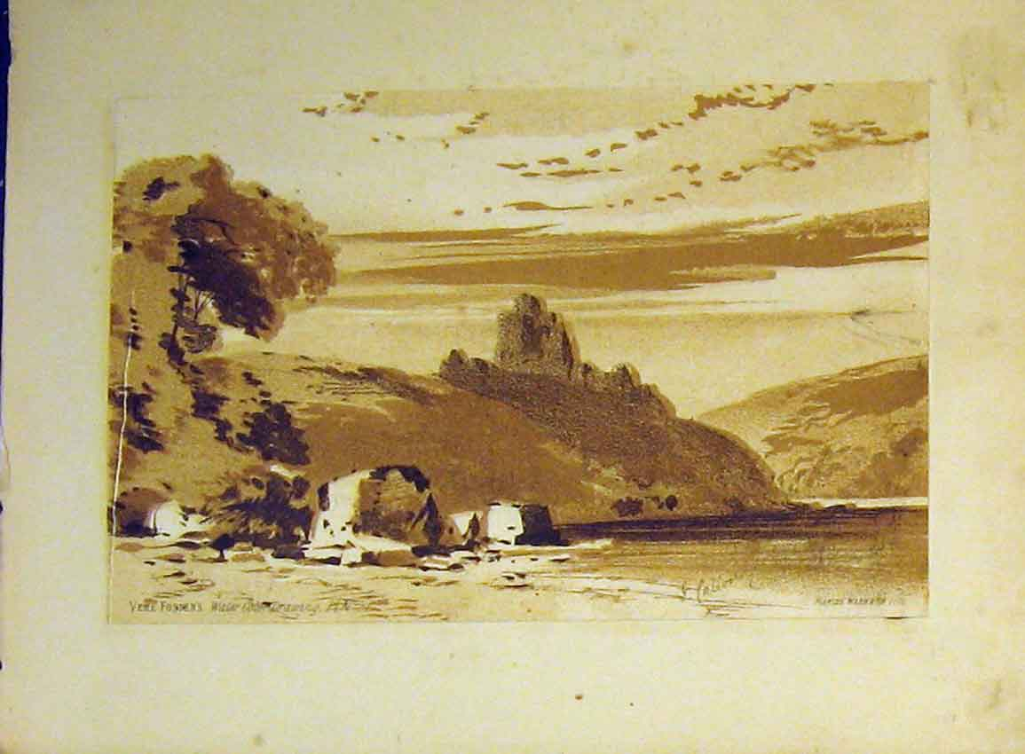 Print C1890 Vere Foster Water Colour Lake Hills Castle Ruins 604B355 Old Original