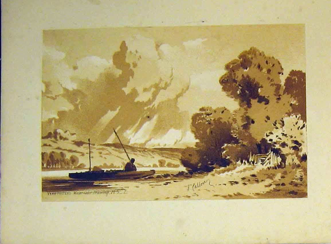 Print C1890 Vere Foster Lake Fishing Boat Water Colour Callou 605B355 Old Original