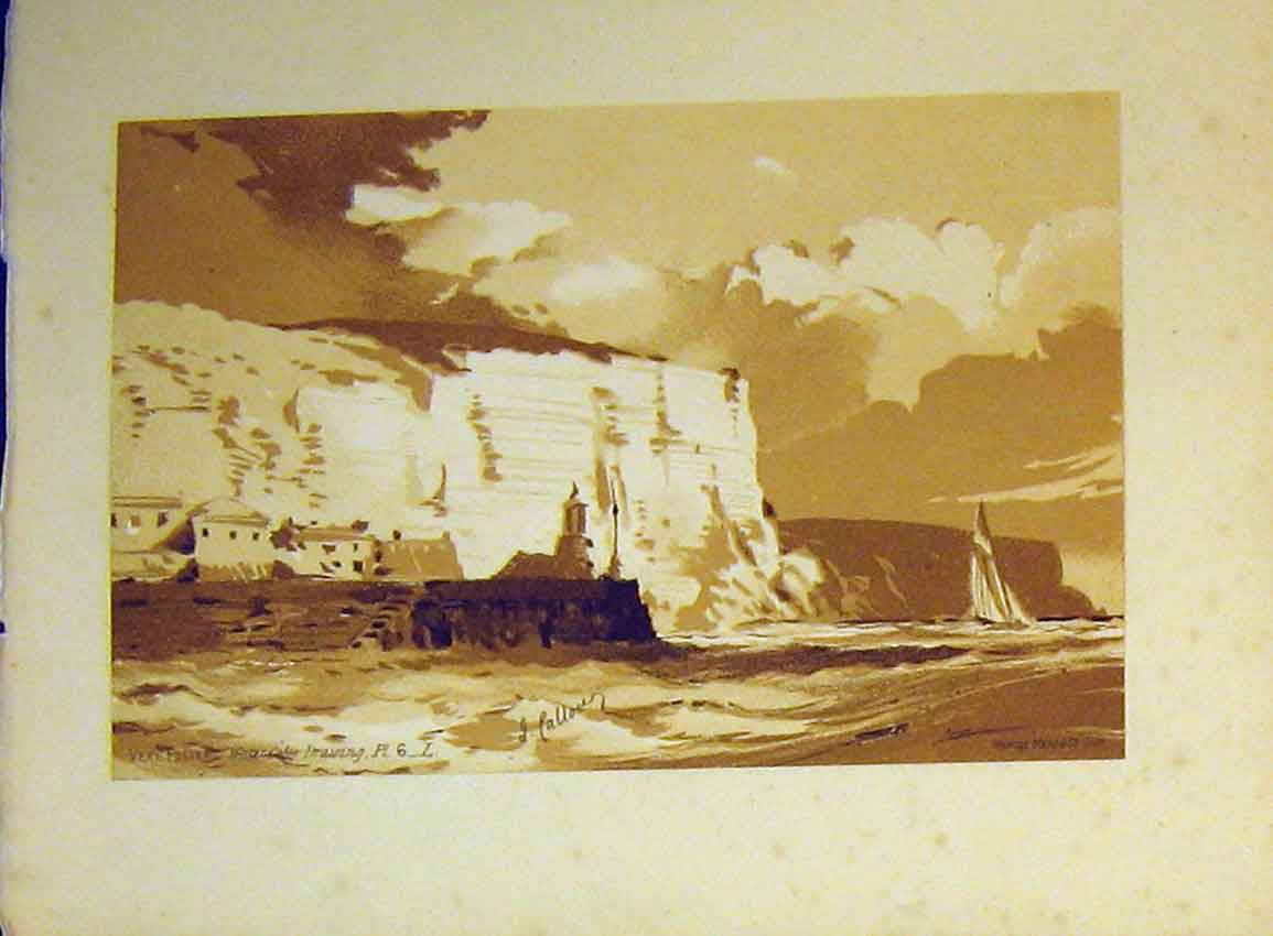 Print C1890 Vere Foster Cliffs Lighthouse Boat Sea Callou 606B355 Old Original