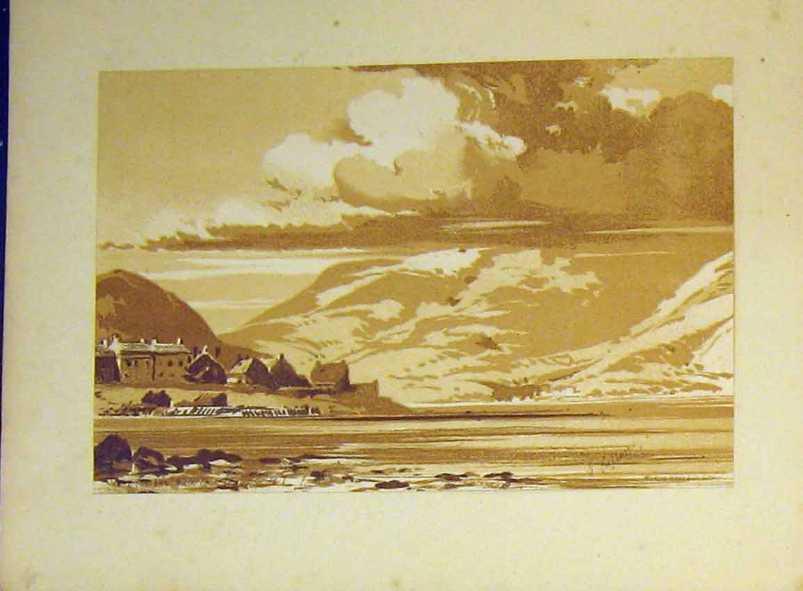 Print C1890 Vere Foster Mountains Lake Houses Water Colour 606Ab355 Old Original