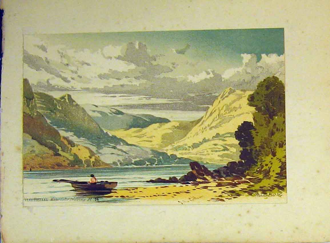 Print C1890 Vere Foster Mountains Lake Boat Water Colour 609B355 Old Original