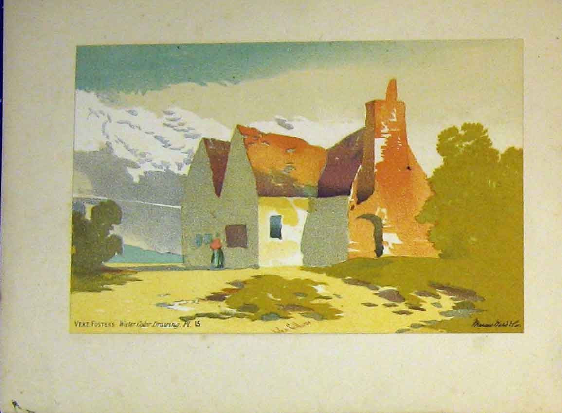 Print C1890 Vere Foster Water Colour House Country Callou 610B355 Old Original