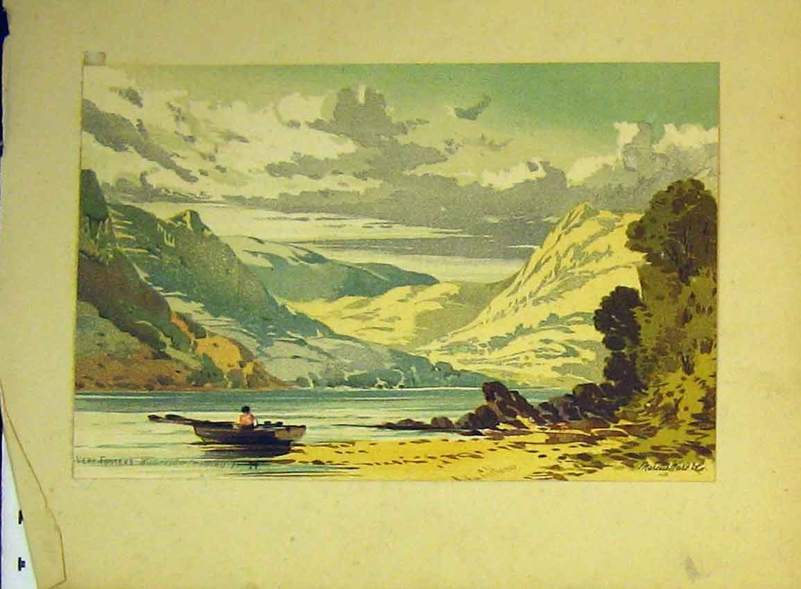 Print C1890 Water Colour Vere Foster Mountain Lake Boat 612B355 Old Original