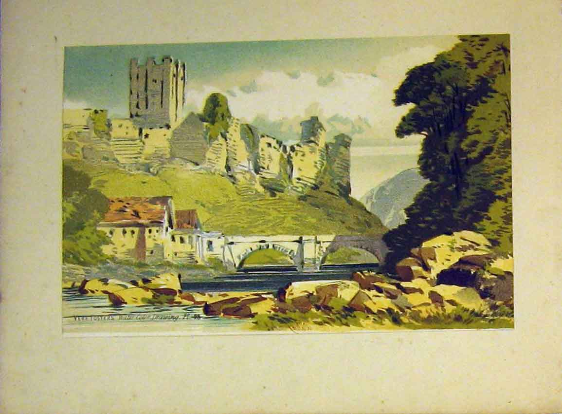 Print River Bridge Castle Country C1890 Vere Foster Callou 612Ab355 Old Original