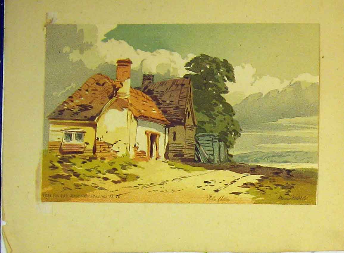 Print C1890 Vere Foster Water Colour Country House Mountains 614B355 Old Original