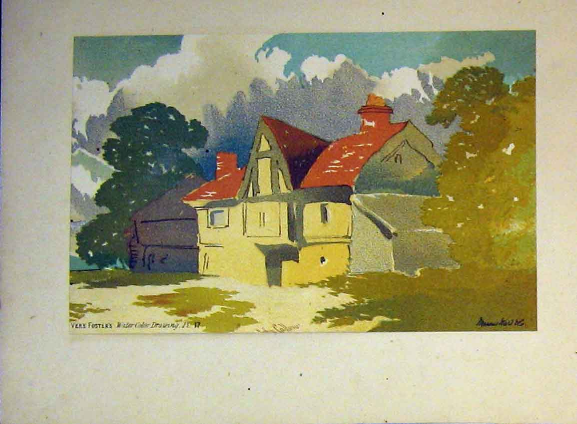 Print Vere Foster Water Colour C1890 Country House Callou 618B355 Old Original