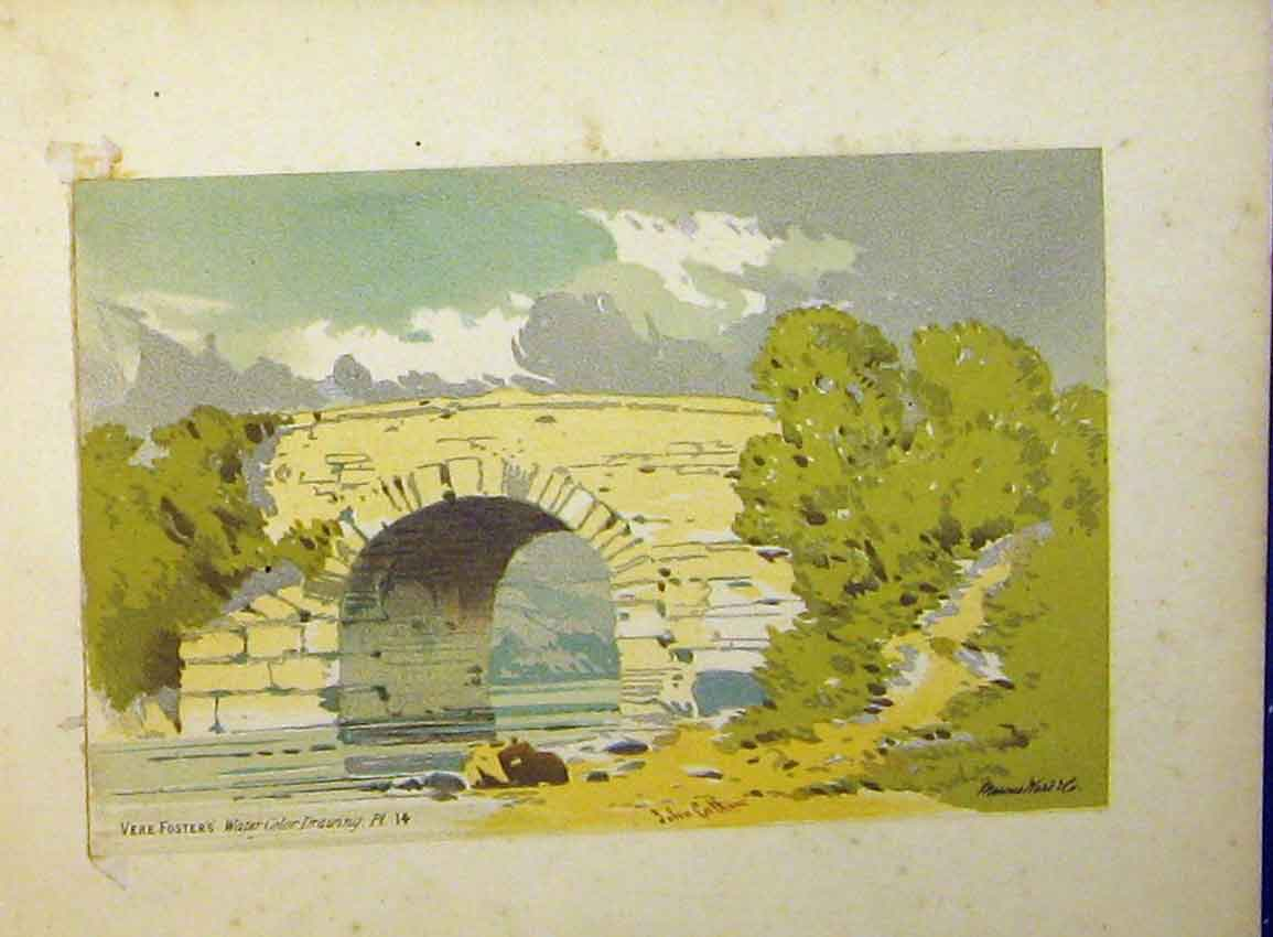 Print C1890 Water Colour Vere Foster Bridge River Trees 618Ab355 Old Original