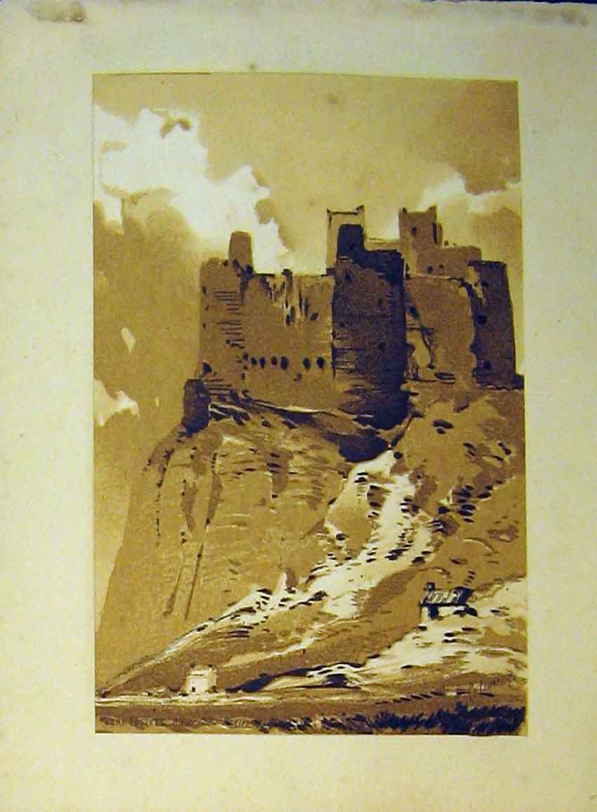 Print C1890 Vere Foster Water Colour Castle Cliff Callou John 621B355 Old Original