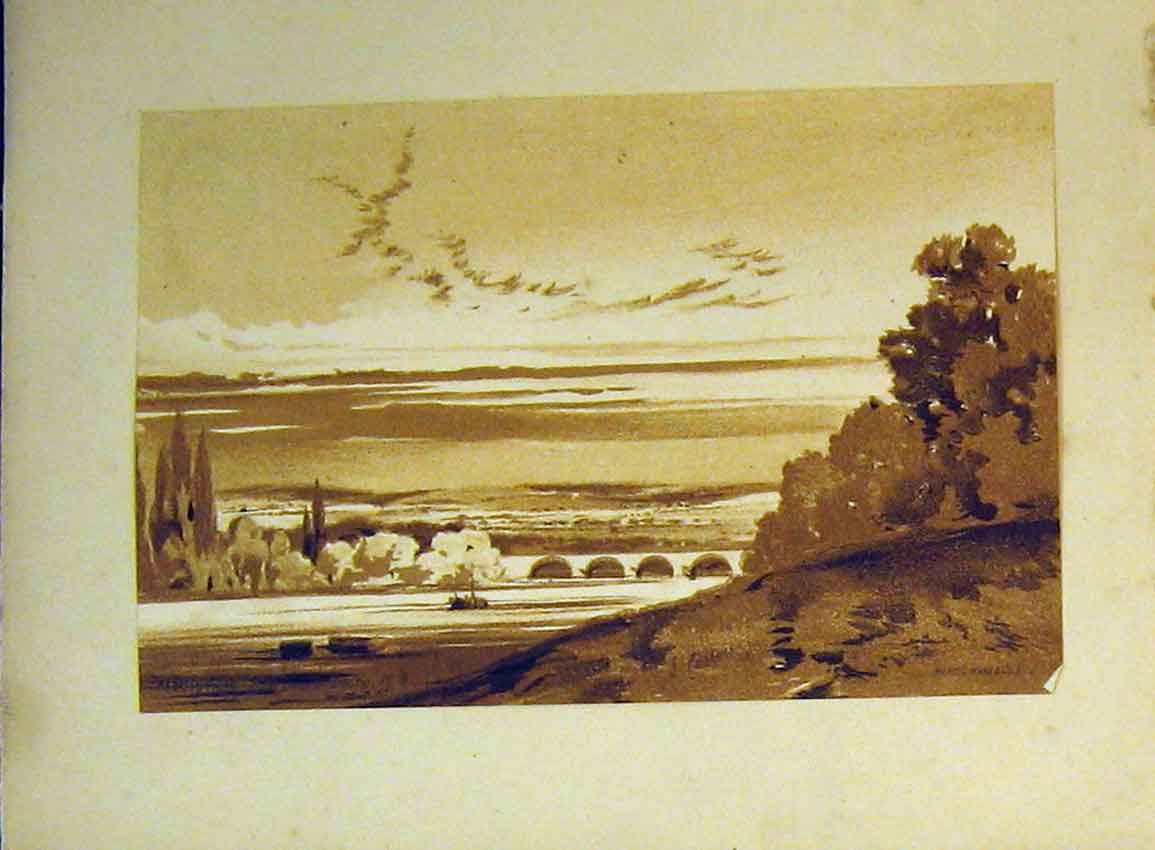 Print C1899 Vere Foster Water Colour River Bridge Boats Trees 626B355 Old Original