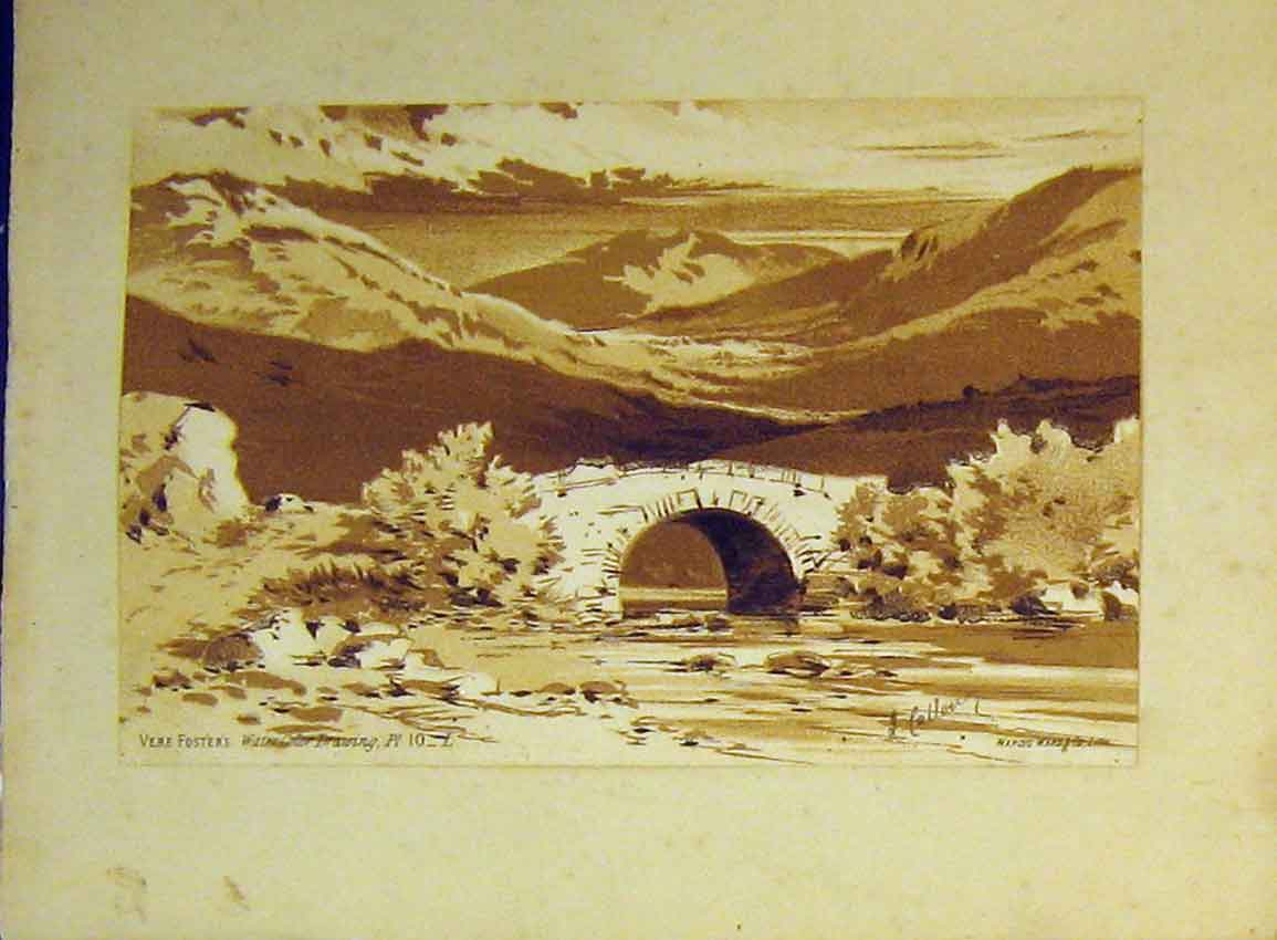 Print C1890 Vere Foster Water Colour Mountains River Bridge 627B355 Old Original
