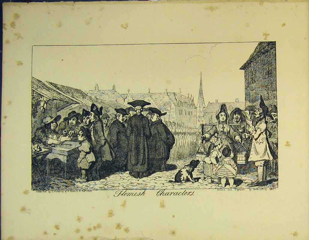 Print 1822 Flemish People Market Army Humphrey 202B356 Old Original