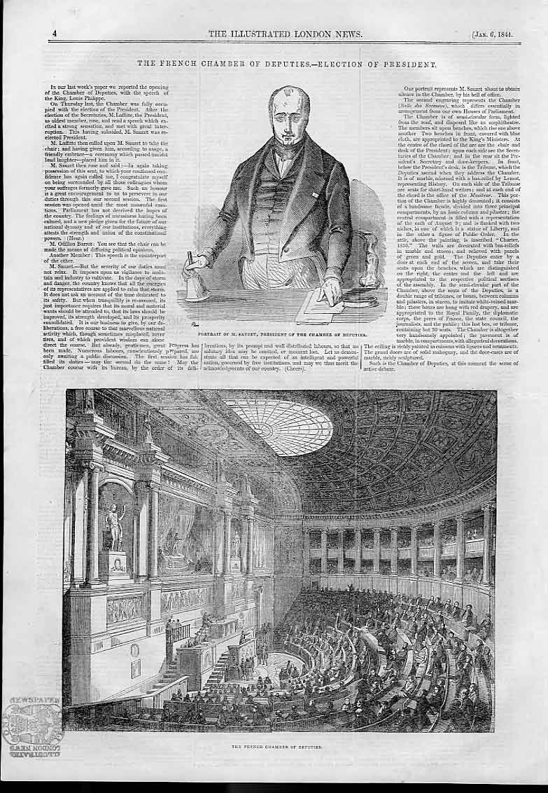 Print M Sauzet & French Chamber Of Deputies 1844 04AAA0 Old Original