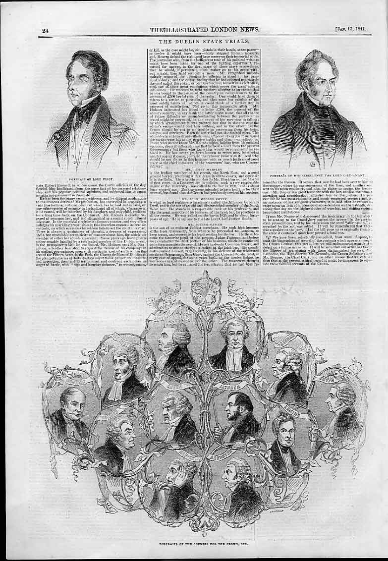 Print Dublin State Trial Counsel For Crown 1844 24AAA0 Old Original