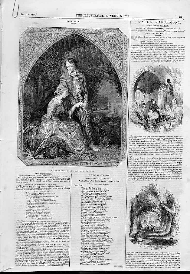 Print 6 Pages Fine Arts 1844 Illustrated London News 25AAAA0 Old Original