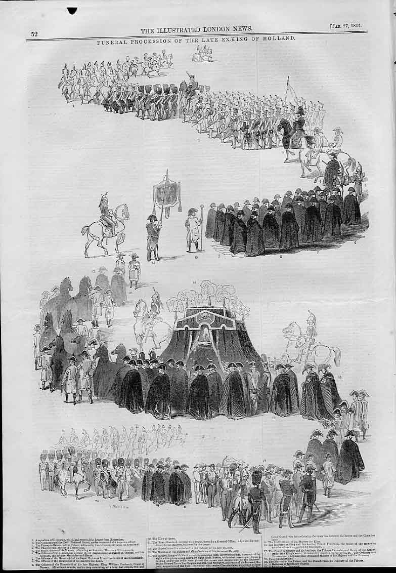 Print Funeral Procession Late King Of Holland 52AAA0 Old Original