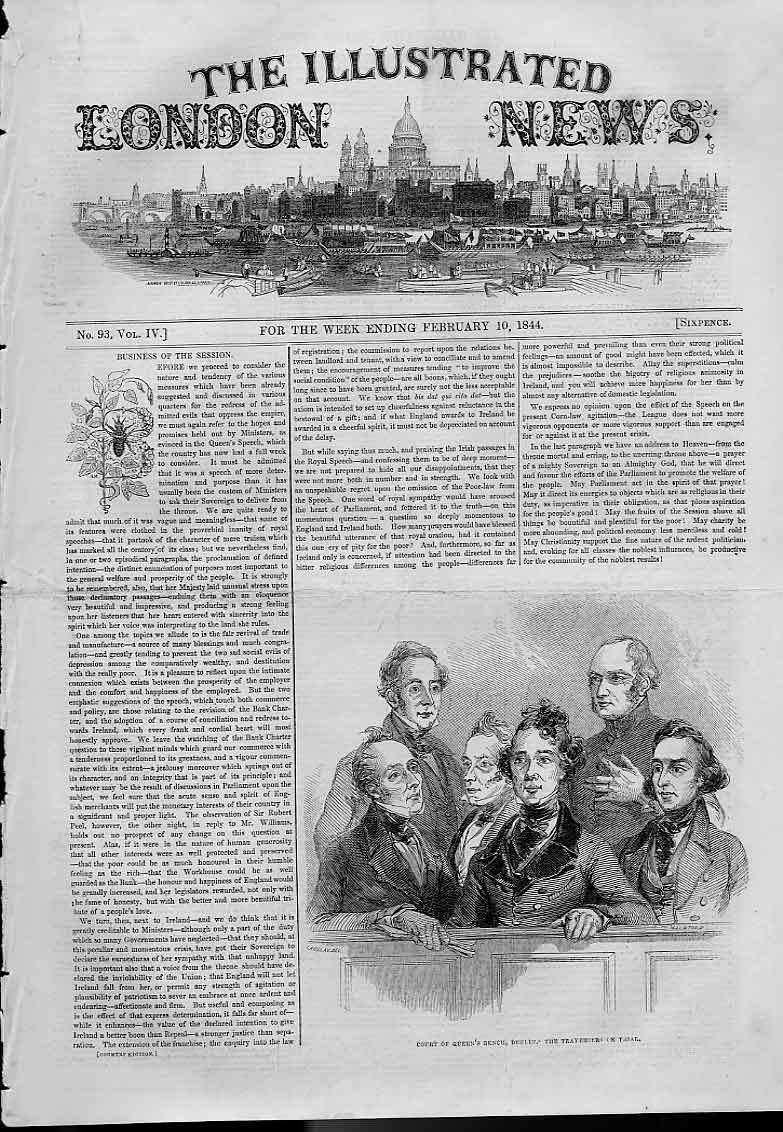 Print Court Queens Bench Dublin Traversers On Trial 1844 82AAA0 Old Original