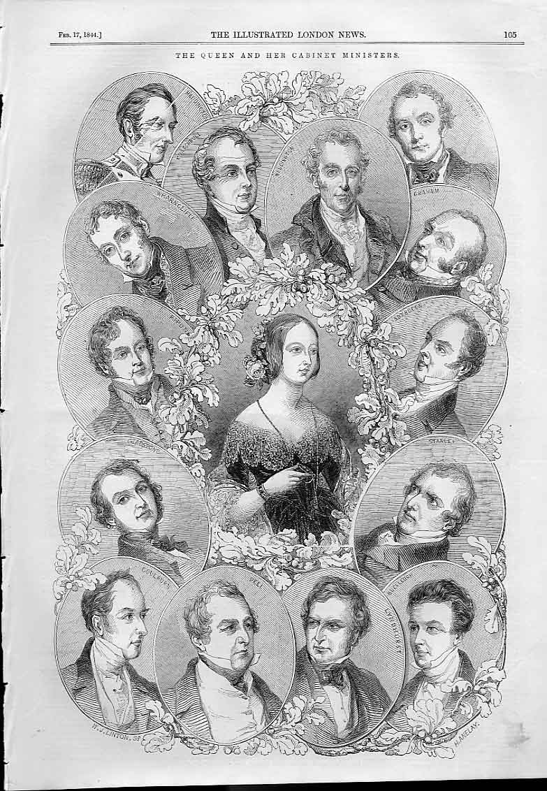 Print The Queen And Her Cabinet Ministers 1844 05Aaa0 Old Original