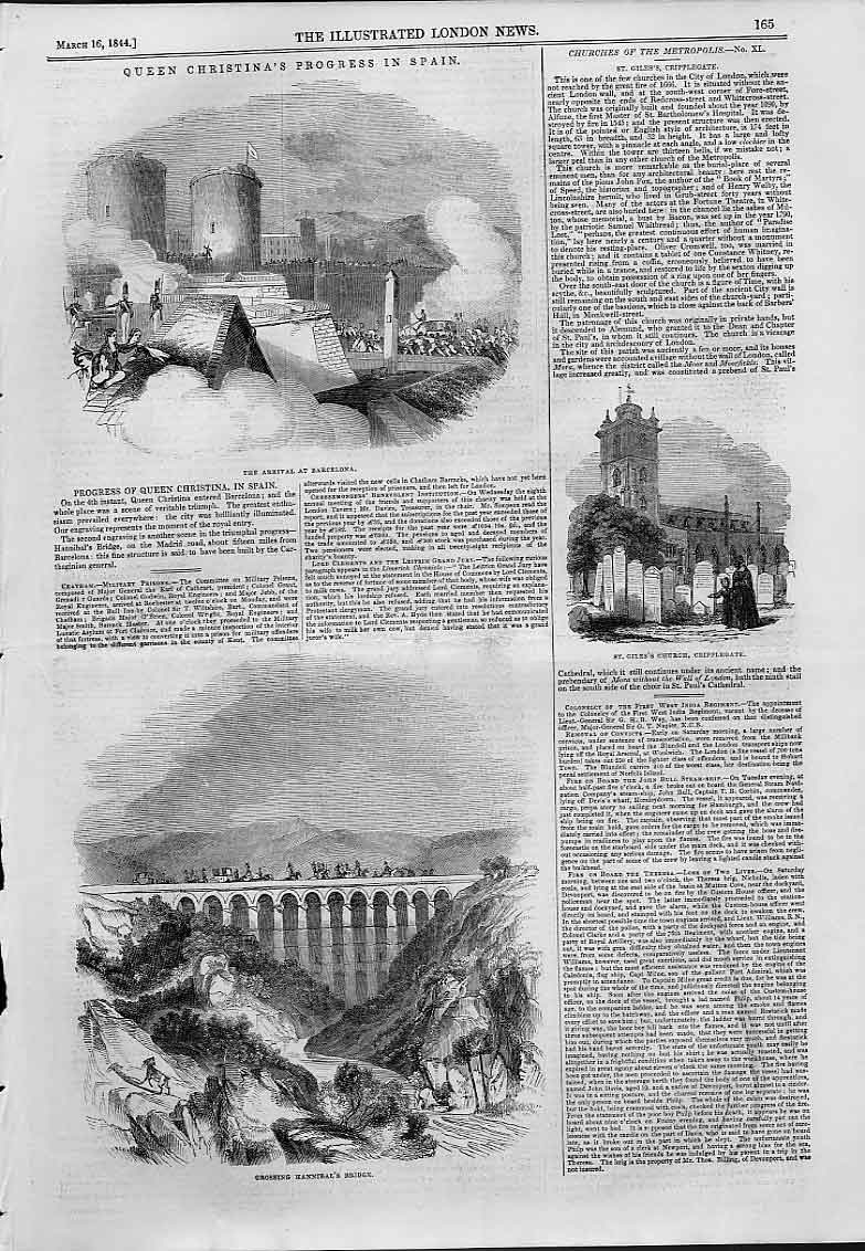 Print Queen Christna'S Progress Inj Spain 1844 65Aaa0 Old Original