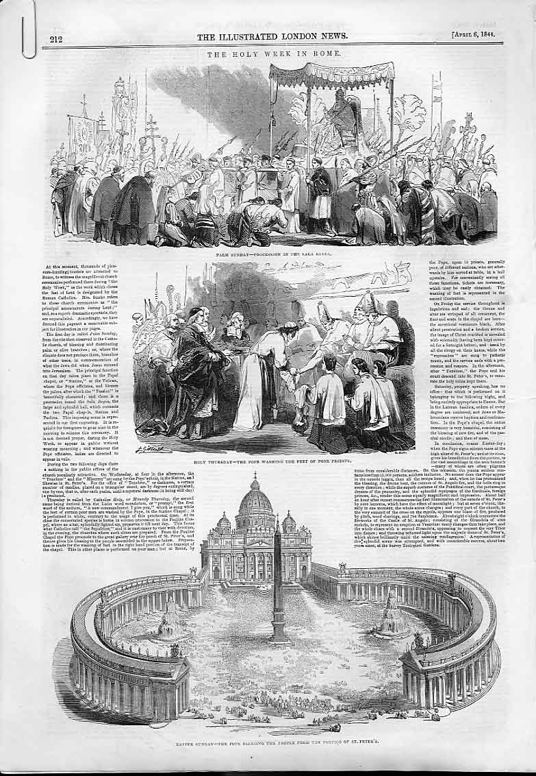 Print Holy Week Rome & Palm Sunday Spitalfields 1844 12Aaaa0 Old Original