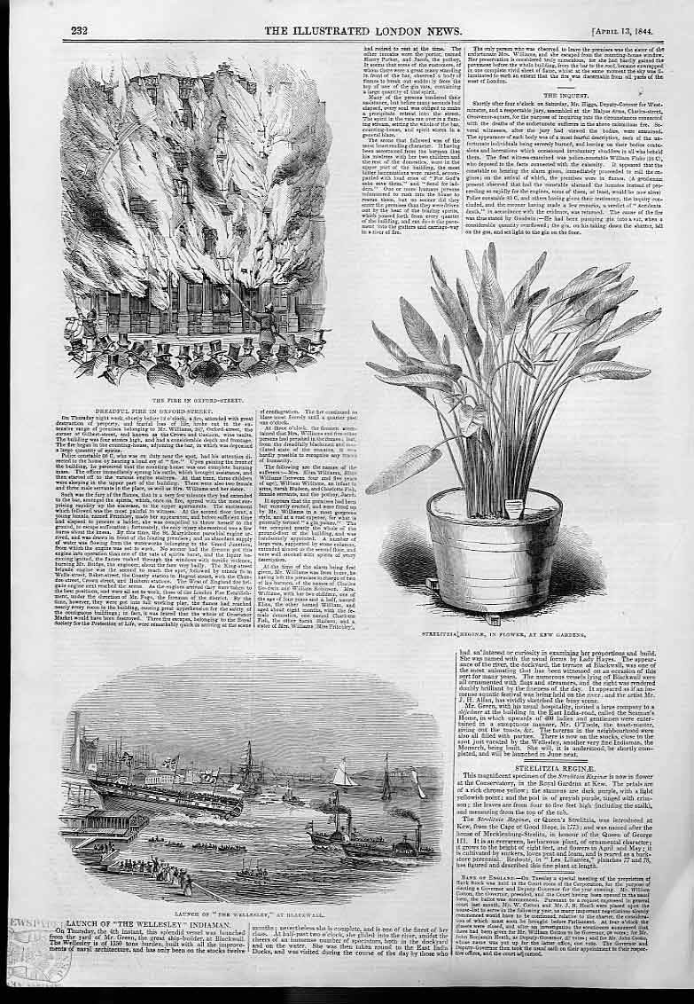 Print Fire Oxford Street Launch Wellesley Blackwall 1844 32Aaa0 Old Original